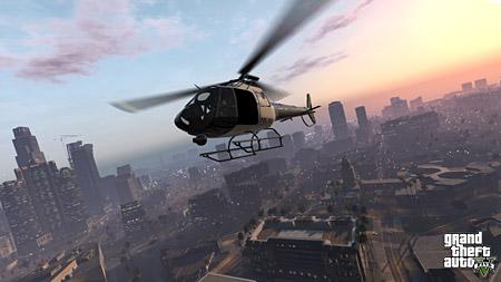 Полицейский вертолёт из GTA 5 патрулирует Лос Сантос